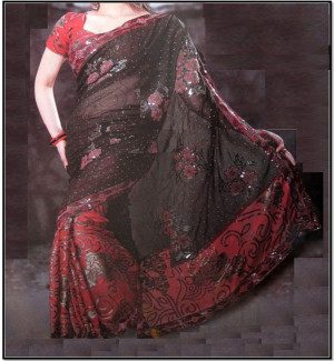 Black and Red Saree