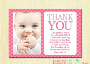 one diy printable thank you pink polka dots 1 year old 1st birthday ...