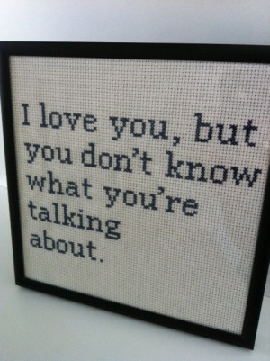 ... between my kid and my husband. Moonrise Kingdom quote cross stitch