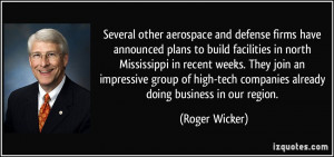 Several other aerospace and defense firms have announced plans to ...