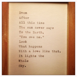 Hafiz Quote Typed on Typewriter and Framed
