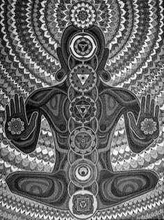 American Hippie Art Meditation ~ black white More