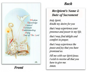 Confirmation Holy Spirit Card
