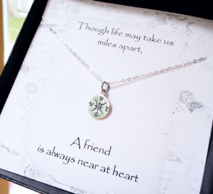 Compass necklace, Friendship card, silver compass charm, Friendship ...