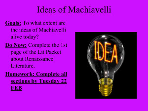 PowerPoint Presentation - Machiavelli _ Castiglione by wuyunyi