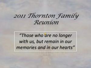 Memorial Tribute - 10th Thornton Family Reunion
