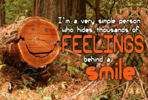 Shyness Quote: I'm a very simple person who hides... feelings-(1)