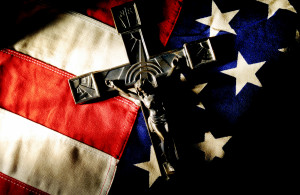 FAITH BEARS WITNESS--The US flag and a crucifix are pictured in an ...