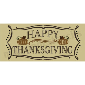Happy Thanksgiving vintage chalk frame with holly 8 x 18 Stencil