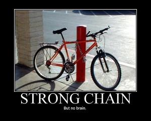 bike chained to pole false chain fail