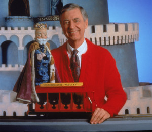 Fred Rogers on the set of his television show