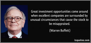 Great investment opportunities come around when excellent companies ...