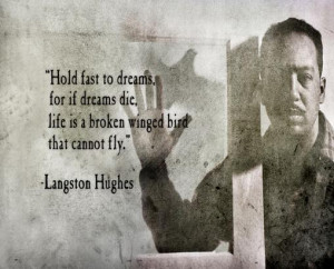 hold fast to dreams for if dreams die life is a broken winged bird ...