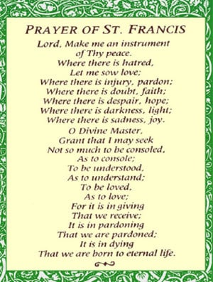 st francis prayer prayer of st francis
