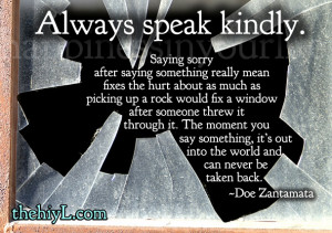 always speak kindly saying sorry after saying something really mean ...