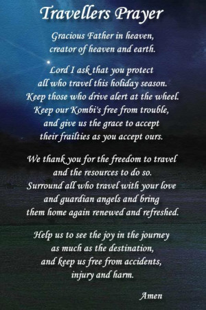 Safe Travel Prayer Travellers prayer