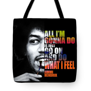 Jimi Hendrix Quotes Tote Bag by Nostalgic Art