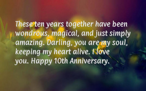 Happy 10th Year Anniversary Quotes