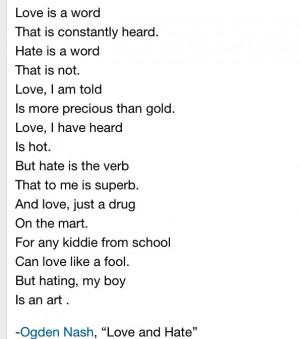 Ogden Nash, Love and Hate