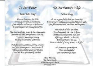 PASTOR & WIFE PERSONALIZED POEMS GIFT FOR PASTOR APPRECIATION FOR ...