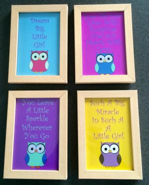 Set of 4 Owl Little Girl Quotes Framed Prints | Felt