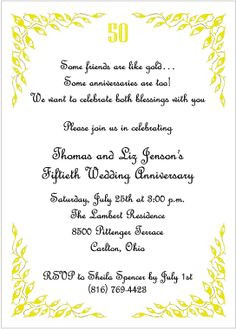 quotes for 50th anniversary invitations | ... of golden jubilee 50th ...