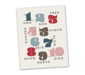 Spanish Numbers Nursery Art Print - nursery decor, educational wall ...