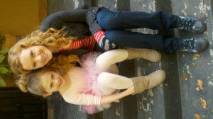 Emily Alyn Lind and Madisen Beaty on the set of Beautiful People