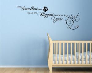 Baby Footprints Love Heart Children's bedroom Wall Art Sticker Quote ...