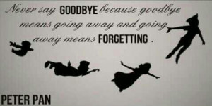 cute, love, never say goodbye, peter pan, pretty, quote, quotes