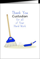 Thank You Custodian Greeting Card with Broom-Dust Pan and Eyes card ...