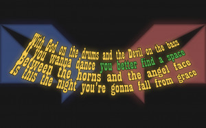 ... God On Drums, Devil On The Bass - Katie Melua Song Lyric Quote in Text