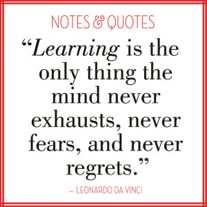 Learning quote by Leonardo DaVinci; image by EuropeanPaper.com/Blog