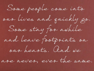 Home > Some People Leave Footprints On Our Hearts Wall Decals