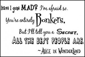 Alice in Wonderland wall decal quotes