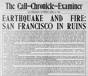 ... page of Call-Chronicle-Examiner after 1906 San Francisco earthquake