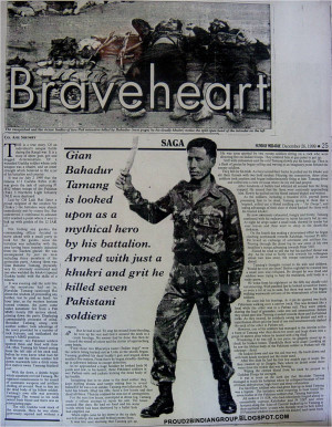 ... Khukri and grit he killed 7 pakistani Soldiers in the kargil war