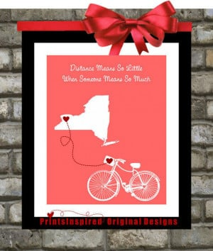 Mom Birthday Distance: Custom Bicycle Print ANY Quote & Colors Long ...