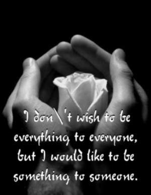 don't wish to be every thing to everyone, but I would like to be ...