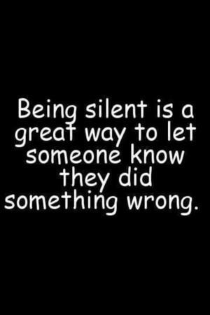 Being silent....