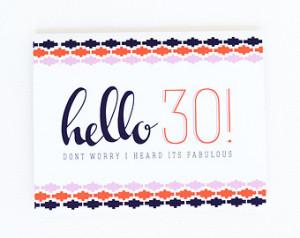 30th Birthday Card, 30th Birthday, Funny 30th Bday Card, 30th Birthday ...