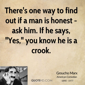 There's one way to find out if a man is honest - ask him. If he says ...