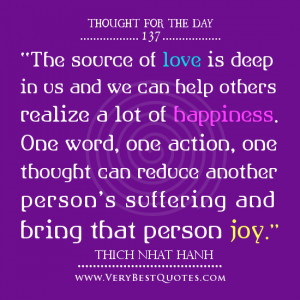 Thought of the day on love, happiness quotes, Thich Nhat Hanh Quotes