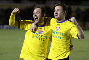 Andy Watkins right celebrates at the final whistle with Ross Stearn