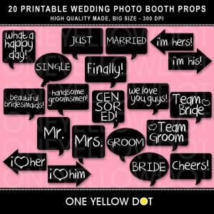 Wedding Photo Booth Props Printable