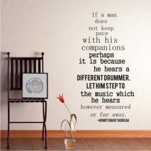Wall Decal Quote Different Drummer Henry David Thoreau - Vinyl ...