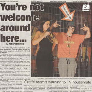 Graffiti Writers Warning 2 Big Brother's 'Sam' in Hackney Gazette