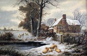 William P Cartwright Winter Farm Buildings Near Hamstead