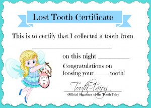 made this cute Lost Tooth Certificate from the Tooth Fairy that I ...