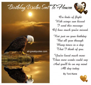Birthday Wishes Sent To Heaven .. On birds of flight, with wings sun ...